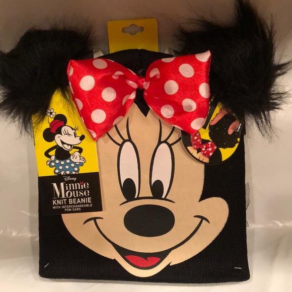 406018d9b7515 Minnie Mouse knit beanie interchangeable Pom Ears